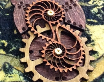 Stained Kinetic Nautilus Gear Pendant