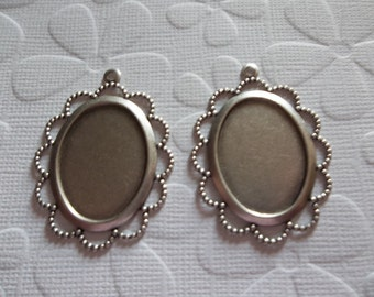 Vintage Inspired 25X18mm Settings - Oxidized Silver Plated Scalloped Filigree Design Mountings - Qty 2