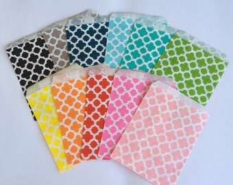 Favor Bags Moroccan Treat Bags Quatrefoil Party Bags Treat Bags Gift Bags Bakers Supply Cookie Bags Party Favors Birthday Favor Bags