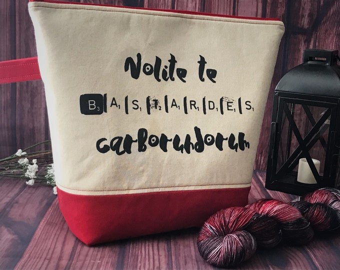Large Project Bag, Knitting Bag, Sweater Project Bag, Zippered Project Bag, Yarn Bag - Inspired by The Handmaid's Tale Adventure Project Bag
