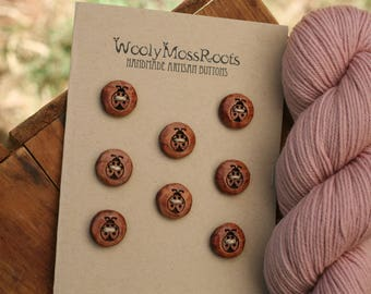 SALE! 8 Wooden Ladybug Buttons- Red Cedar Wood- Wooden Buttons- Eco Craft Supplies, Eco Knitting Supplies, Eco Sewing Supplies