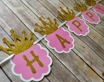 Pink and Gold Happy Birthday Banner, Princess Banner, Pink and Gold Princess Banner, Pink and Gold Banner