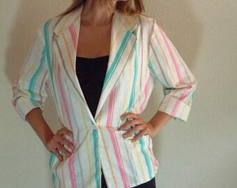 VTG 80's Pastel Striped Boyfriend Jacket Lightweight Blazer Coat Preppy M/L