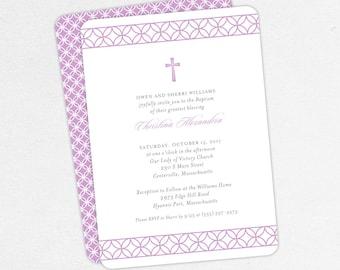 Baptism Invitation, Christening Invitation, Girl Baptism, Printable Baptism Invitation, Invite PDF, Modern, Traditional, Purple, Christina
