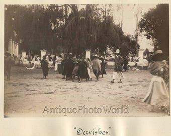 Mexico dervishes on street antique albumen photo