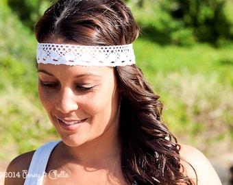 Bohemian Lace Headband, Boho Style Cotton Lace Headband Suitable for Beach Weddings, Festivals or Everyday Wear
