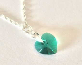 Birthstone Necklace. Made with a Swarovski elements crystal heart and Sterling silver chain.