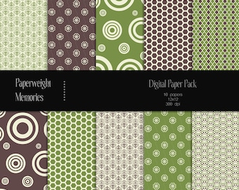 Moss & Bark - Instant download - digital scrapbooking paper - brown and green patterned paper - Commercial Use