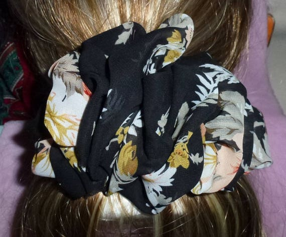 Becky Bows ~ ROSETTE Barrette Hand crafted giant huge Scarf BIG hair bow Women or Girls black peach cream