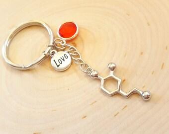 Dopamine Molecule Keychain-Love Keychain-Molecule Keychain-Custom Birthstone Keychain-Psychology Gift-Chemistry Gift-Science Gift Keychain