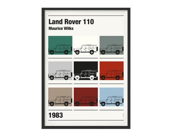 Graphic poster Land Rover Defender multicolors theme