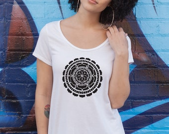 Mandala Yoga Tee - Boutique Shirt - Boho T Shirt - Distressed Ladies Shirt - Raw Edge Shirt - White Splatter Paint Tee - Hand Painted Shirt