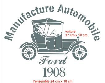 """Old car"" deco factory or industrial stencil"