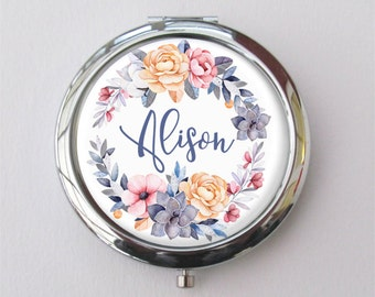 Custom Bridesmaid Gift, Personalized Compact Mirror