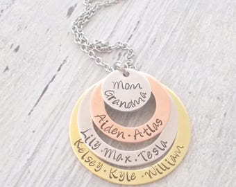 Personalized Grandma Necklace, Personalized Mom Necklace, Personalized Grandmother Necklace, Custom Grandma Necklace, Custom Grandma Gift