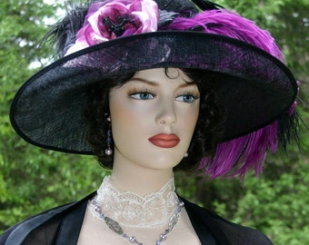 Women's Kentucky Derby Hat Ascot Edwardian Hat Titanic Hat Somewhere Time Hat Downton Abbey Hat Black Eggplant Hat- Countess of Grantham
