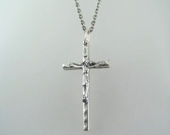 Textured Crucifix Necklace