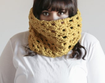 Chunky Cowl Scarf Textured Lace Warmer Hood | THE BRIAR in Citron