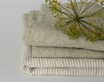 2 Linen Kitchen Towels - Set of Tea Towels - Natural Towels Set - Soft Washed Linen Cotton Towels - Plain Striped Grey - Vegan / Foodie Gift