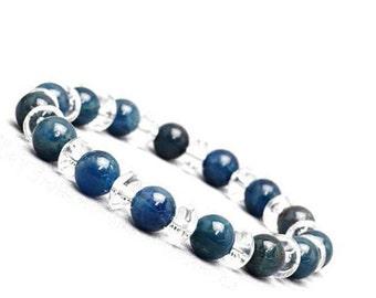 Blue Apatite Bracelet, Swarovski Bracelet, Womens Beaded Bracelet, Blue Beaded Stretch Bracelet, Apatite Jewelry, Apatite Swarovski Crystal