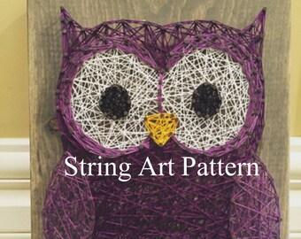 Owl DIY String Art Pattern, DIY String Art Pattern, Owl String Template , Wall art pattern, string art pattern, Owl Template, Owl string