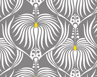 Camelot fabrics, DAHLIA in Grey, Last 43 Inches