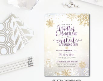 Winter ONEderland First Birthday Invitations