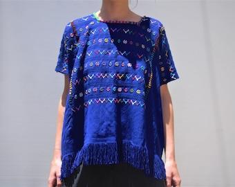 Handmade, Woven Guatemalan Huipil,100% organic cotton, Blue