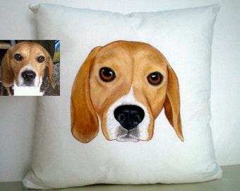 Custom Pet Portrait Pillow Cover , cat portrait - dog portrait , gift for pet lovers, gift for him, Valentines gift for  pet lovers