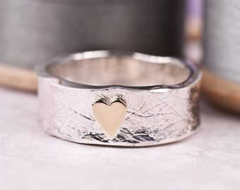 Unusual Heart Ring | Unique Heart Ring | Silver and Gold Heart Ring | Unique Wedding Band | Rustic Wedding Band | Mixed Metals Heart Ring