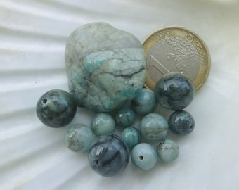 Lot of EMERALD pearl AA, natural stone bead, round beads, semi precious stone, 11mm 8mm 7mm and 6mm