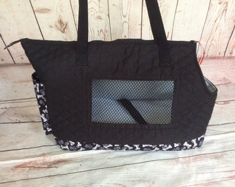 Extra Large Black Quilted Dog Carrier