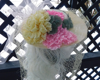 Spring Hat With Ribbon Flowers Vintage Veiling