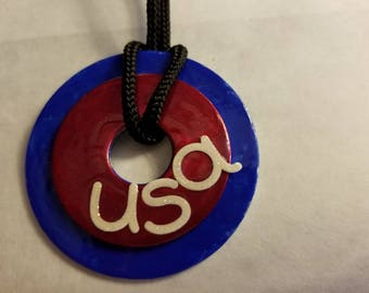 Red and blue USA Washer Necklace