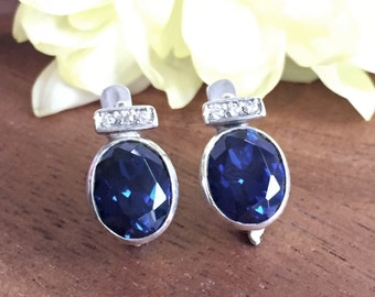 Blue Sapphire Earrings, Created Sapphire, Classy Earrings, Evening Wear, Something Blue, Vintage Earrings, Vintage Silver Earrings, Vintage