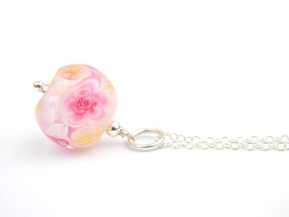 Art Glass Pendant - Medium Peonies Art Glass Bead Sterling Silver Pendant - Classic Collection