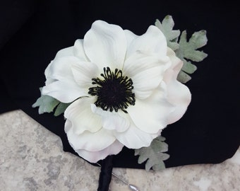 Anemone boutonniere etsy anemone cream white with dusty miller leaves winter boutonnieres box matching corsages hairpins mightylinksfo