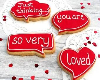 Valentines Anniversary Wedding Love cookies, edible gift, I love you biscuits, boyfriend gift, girlfriend cookies, cookie present, biscuits