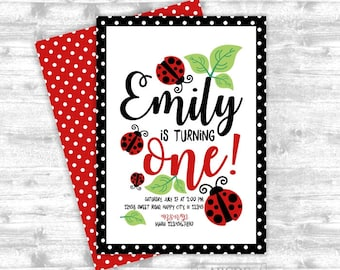 Ladybug birthday invitation 1st birthday invitation first girl birthday invitation baby girl first birthday invite digital invite  (PDLB101)