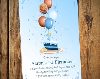Kids Birthday Personalised Party Invitations Balloon Cake