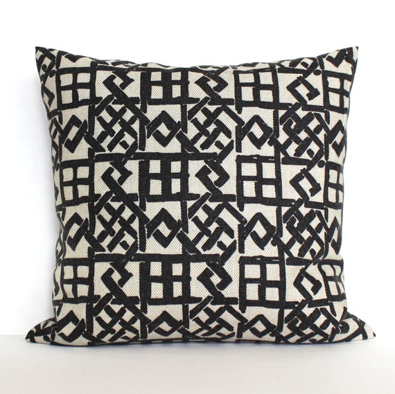 Black pillow cover beige geometric upholstery fabric throw - Fabric for throw pillows ...