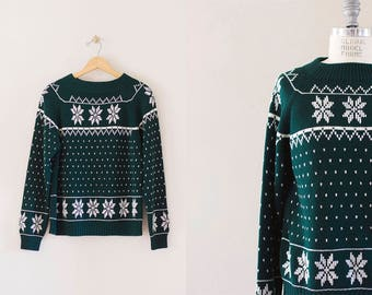 Snowflake pullover sweater / fair isle knit sweater / holiday sweater
