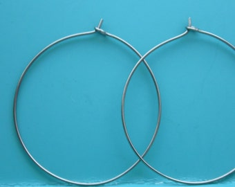 Niobium Wire Hoop Earrings, Choose your size from 1- 2 inches, Hypoallergenic Earrings, Boho Hippie Hoops