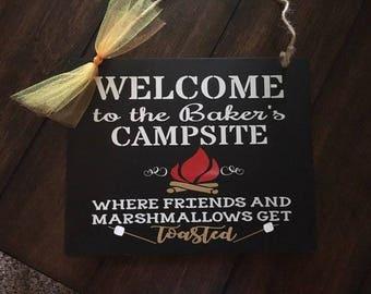 Camping, Camping decoration, Camping sign, Personalized Camping sign, Campground sign, Campsite sign, Campsite decor, Camper sign, Camp