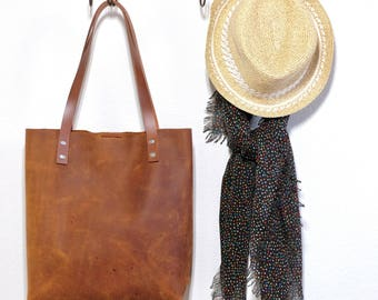 Rustic Leather Tote, 100% Handmade Leather Tote, Travel Tote, Shopping Tote