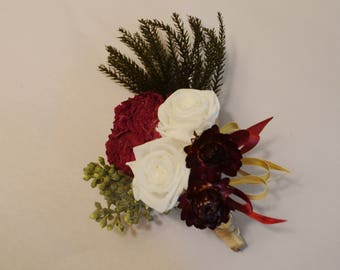 Boutonniere, Wedding Boutonniere, Burgundy Boutonniere, Rose boutonniere, Preserved roses - Can be Custom Made to Order