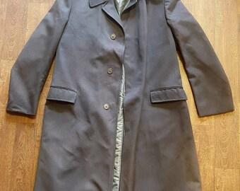 Men's 1960s Vintage Charcoal Top Coat Size Large Mod Retro