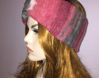 Knitted headband turban red gray white with silver linings very fashionable elegant