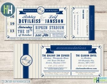 Baseball Wedding Ticket Place Cards Seating Card Escort