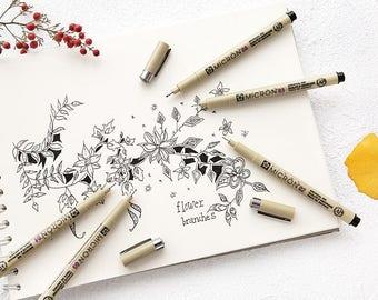 Sakura Pigma Micron Pens in Black, Black Fineliner Micron Pens, Fine Tip Bullet Journal Pens, Fine Tip Scrapbooking Pens